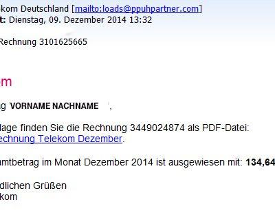 Phishing-Mail Dezember 2014