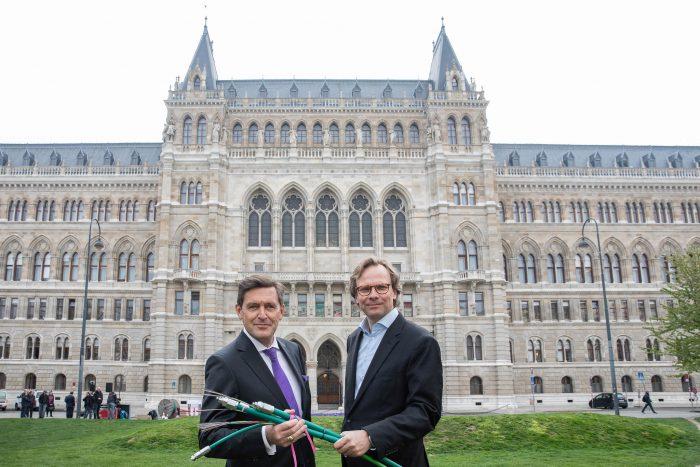 Peter Hanke, Wiens Finanz-, Wirtschafts- und Digitalisierungsstadtrat und T-Mobile Austria CEO Andreas Bierwirth