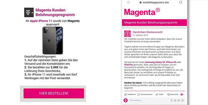 Magenta Fake Gewinnspiel