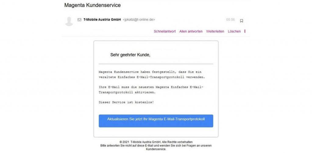 Beispiel Phishing-Mail 31. März 2021