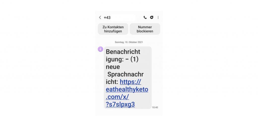 Fake SMS 10. Oktober 2021